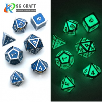 GLOW GREEN METAL DICE SET