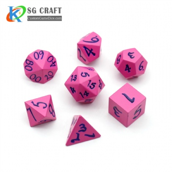 PINK METAL DICE SET