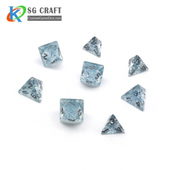CLEAR GITTER DICE SET