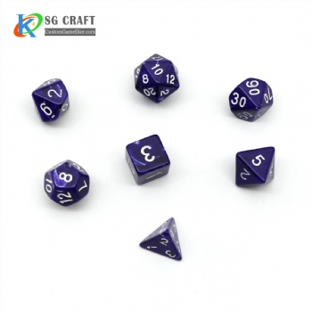 BLUE MARBLE PLASTIC DICE SET