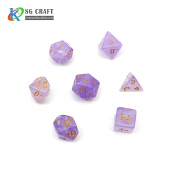 VELVET PURPLE PLASTIC DICE SET