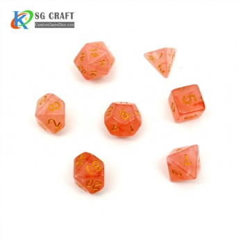 VELVET ORANGE PLASTIC DICE SET
