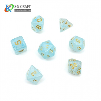 VELVET LIGHT BLUE PLASTIC DICE SET