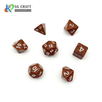 VORTEX BROWN PLASTIC DICE SET