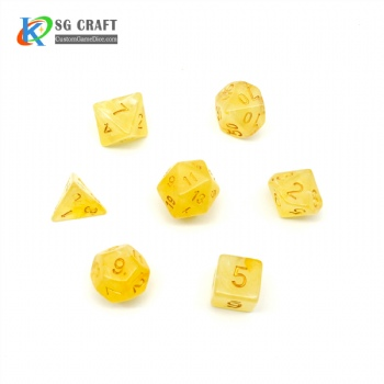 VELVET YELLOW PLASTIC DICE SET