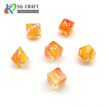 NEBULA ORANGE PLASTIC DICE SET