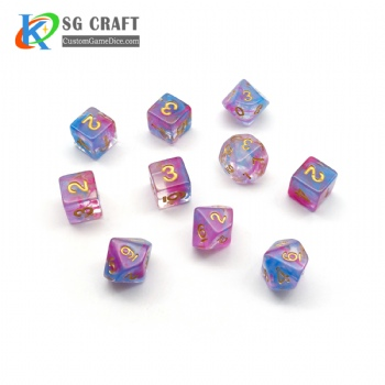 NEBULA PINK and BLUE PLASTIC DICE SET