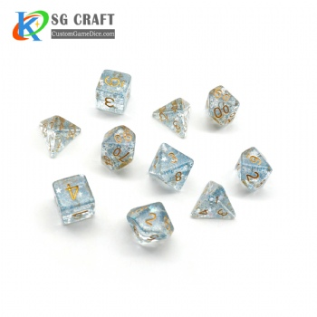 TRANSPARENT BLUE GLITTER DICE SET