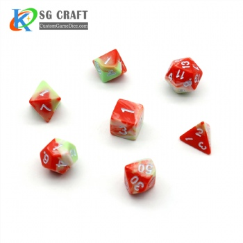 WATERMELON RED PLASTIC DICE SET