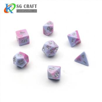 PINK AND WHITE MIXED PLASTIC DICE SET
