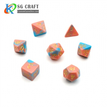 PINK AND BLUE MIXED PLASTIC DICE SET
