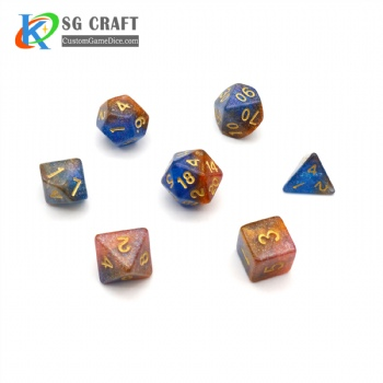 COLORFUL GLITTER PLASTIC DICE SET