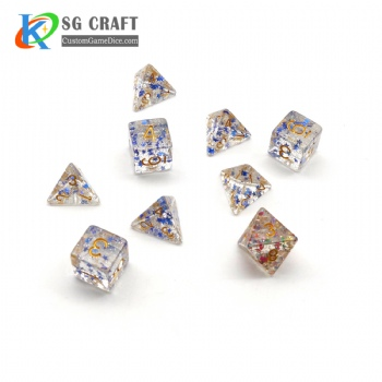 TRANSPRANT BLUE STAR FILLED PLASTIC DICE SET