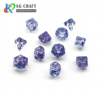 TRANSPRANT PURPLE STAR FILLED PLASTIC DICE SET