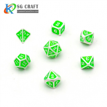 NEON GREEN ENAMELED METAL DICE