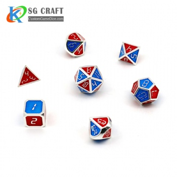 RED AND BLUE ENAMELED METAL DICE