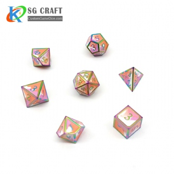 RAINBOW PLATED METAL DICE