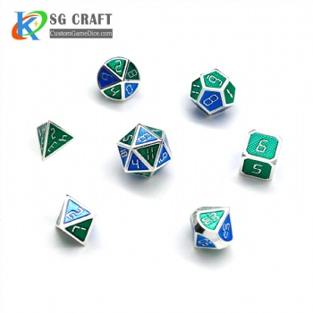 GREEN AND BLUE ENAMELED METAL DICE