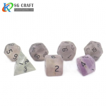 Natural Fluorite stone dice set