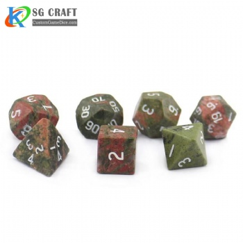 Natural Unakite stone dice set