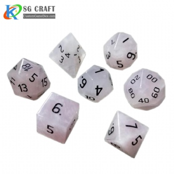 Natural rose stone dice set