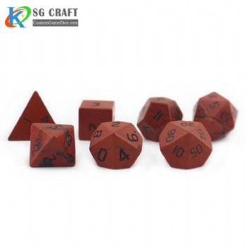 Natural red stone dice set