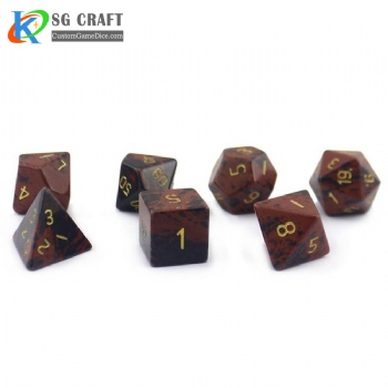 Natural Golden Swan stone dice set