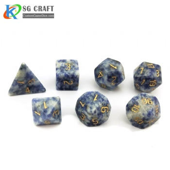 Natural Blue vein stone dice set