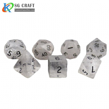 Natural Clear Quartz stone dice set