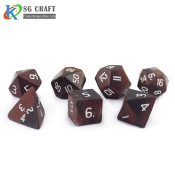 Natural Red Tiger's Stone Dice set
