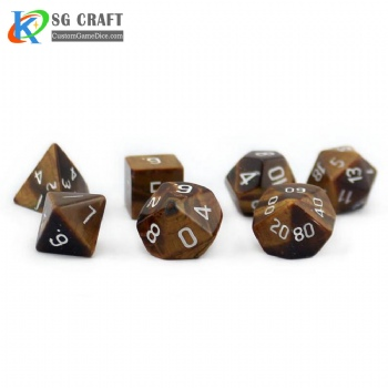 Natural Yellow Tiger's Stone Dice set