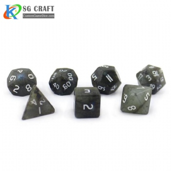 Natural Labradorite Stone Dice set