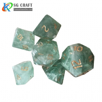 Natural Green Fluor Stone Dice Set