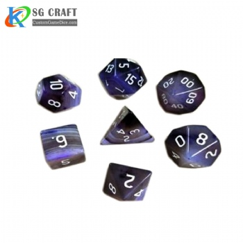 Natural Purple Agate Stone Dice Set