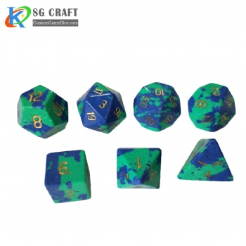 Green Gold Stone Dice Set