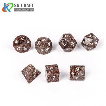 Natural snowflake stone Dice Set