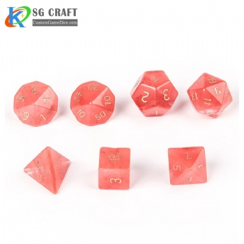 Watermelon red stone Dice Set