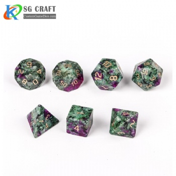 Red and green treasure Stone Dice Set