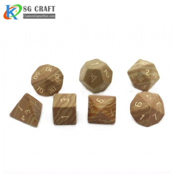 Natural Yellow wood grain Stone Dice Set
