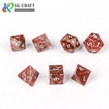 Natural Sesame red stone Dice Set