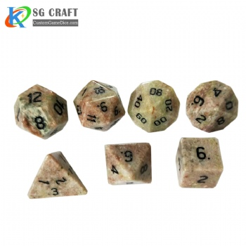 Natural Flower Freen stone Dice Set