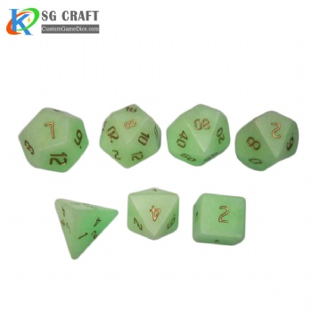 Green Glow in the dark stone Dice Set