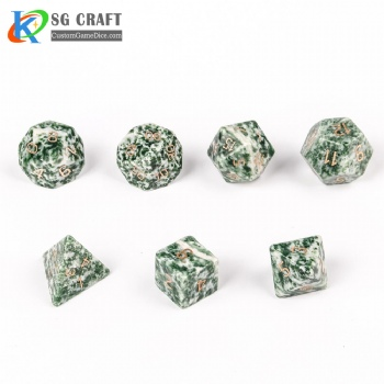 Natural Green point stone Dice Set