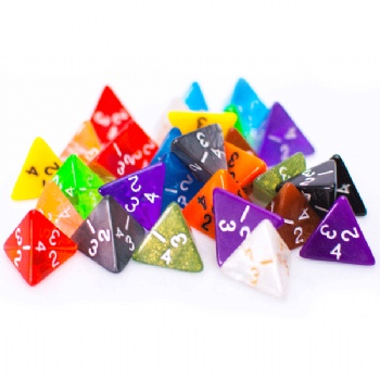 Bulk 4 Sided Dice for Sale | 25 Count | Assorted | Multi Colored | D4 Dice