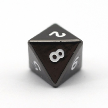 BLACK NICKEL METAL D8 DICE
