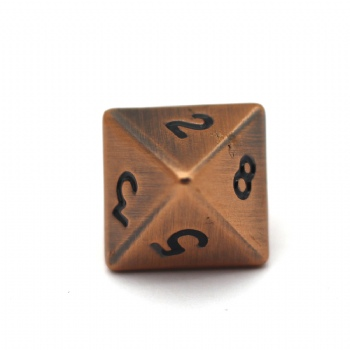 ANTIQUE COPPER METAL D8 DICE