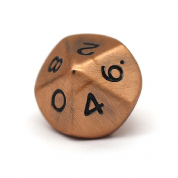 ANTIQUE COPPER METAL D10 DICE