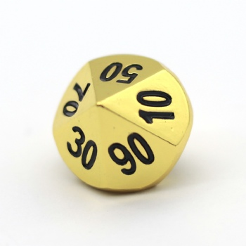 GOLD METAL D10% DICE