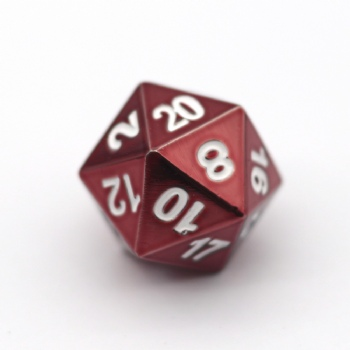 RED METAL D20 DICE
