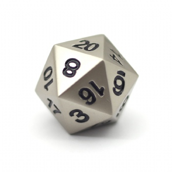 PEARL NICKEL METAL D20 DICE
